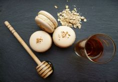 Medici Macarons 'The Robbie Burns'. In celebration of Burns Night a honey, whisky and toasted oat macaron. Used with local honey, local 'truly' freerange eggs and natural colours https://www.facebook.com/photo.php?fbid=524876417626066&set=a.280569208723456.63532.263436297103414&type=1&stream_ref=10