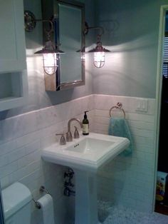 Small Bathroom Ideas..sink and these are like the light we r getting