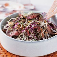 Thai Steak Salad:  Bagged coleslaw mix makes this a  quick dinner to prepare. The longer you marinate the beef, the tastier it gets for this main dish salad.