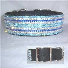 "There's no reason to ""have the blues"" unless you're talking blues in BLING! Big dog 2 inch wide black nylon Collar with solid BLING!"