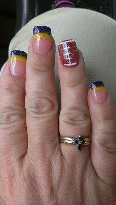 Vikings football nails...i am doing this for the super bowl I don't care if they aren't playing