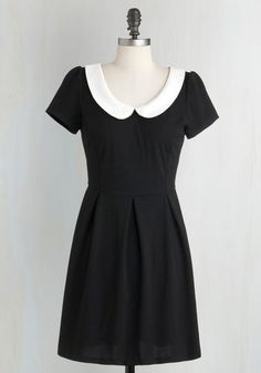 Record Time Dress - Black, Solid, Peter Pan Collar, Casual, Vintage Inspired, A-line, Short Sleeves, Exposed zipper, White, 60s, Variation, Best Seller, 90s, Good, 4th of July Sale, Short, Top Rated, Knit, Gals, Halloween, Fall, Winter