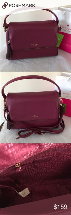 """Kate Spade Miri Satchel/Cross Body Bag New with tag authentic Kate Spade Miri Chester Street Satchel/Cross Body Bag in Rioja/Mahogany.  * Style WKRU4076  * Retail $329.00  * Pebble Leather  * Magnetic Flap closure.  * Zip Tassel compartment on the flap.  * Single handle and removable long strap.  * Inside 1 zip pocket and 1 pocket.  * Approx 11""""L x 8""""H x 4.5""""D  Price is Firm! kate spade Bags Shoulder Bags"""