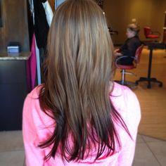 Reverse ombré; client's natural color to a deep warm brown. Hair by Julie Meacham