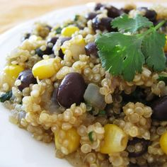 "Quinoa and Black Beans | ""If I could give this six stars, I would. This satisfies ALL my requirements for a 'great' recipe! Get a load of this, and I am not exaggerating: it's quick and easy, inexpensive, attractive to look at, delicious, and very very healthy."""