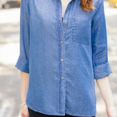 Bella Dahl Leopard Denim Chambray Top A washed-out leopard print lends a very cool kind of fashion-forward flair to this incredibly soft denim shirt. Point collar. Button front. Paneled wide bracelet sleeves. Sleeves are 3/4 length. Front patch pocket. Shirttail hem. Size medium. Worn maybe a handful of times. Feel free to ask questions!  Bella Dahl  Tops