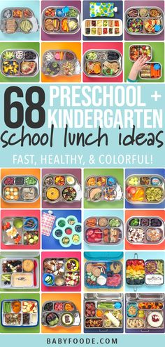 68 Preschool and Kindergarten School Lunch Ideas (healthy) - Baby Foode - - 68 Preschool and Kindgarten School Lunch Ideas! Easy to pack, healthy and colorful - these lunches will be a hit in your house! 13 weeks of lunch ideas! Cold School Lunches, Creative School Lunches, Kids Lunch For School, Healthy Lunches For Kids, Toddler Lunches, Kids Meals, Toddler Food, Eat Healthy, Cold Lunch Ideas For Kids