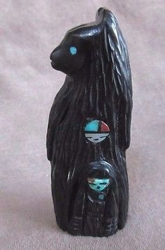Native Zuni Jet Bear w/ Maiden Fetish by Faye Quandelacy C0864