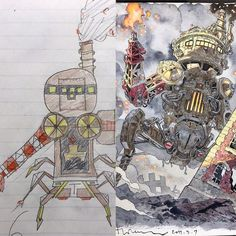 Sons-sketches-to-anime-drawings-thomas-romain Types de Bandes Dessinées Dad Turns His Sons' Doodles Into Anime Characters, And The Result Is Amazing (Part III) Badass Drawings, Amazing Drawings, Doodle Characters, Anime Characters, Thomas Romain, French Anime, Art Sketches, Art Drawings, Arte Steampunk