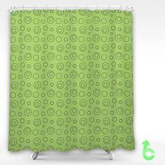 Cheap Circle Light Green Shower Curtain