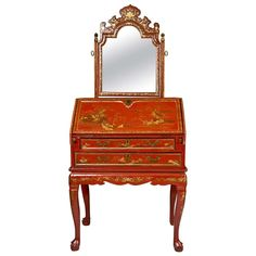 Antique 19th Century Painted Chinoiserie Vanity on Chairish.com
