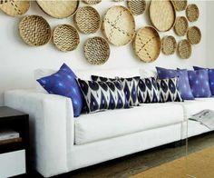 parede de acento decoração com placas de vime
