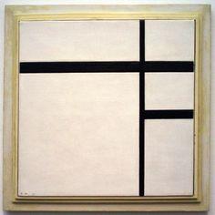 Piet Mondriaan - Compositie met wit en zwart II, met zwarte lijnen - Olieverf op doek