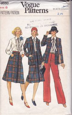 Free Us Ship Sewing Pattern Vogue 9660 Vintage Retro 1970s 70s Suit Jacket Skirt Pants Pantsuit Shirt Blouse Uncut Size 8 Bust 31.5 by LanetzLiving on Etsy