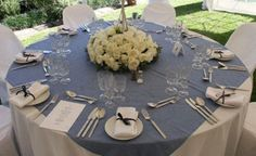 Round tables are perfect for decorating with all different types of centerpiece
