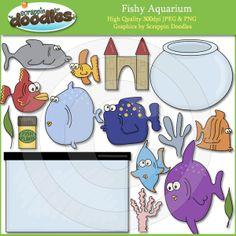 $3.50 Scrappin Doodles Fishy Aquarium Clip Art Download