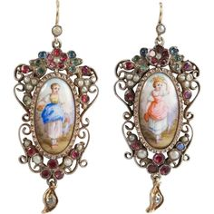 19th Century Miniature Enamel Garnet Diamond Silver Gold Earrings | From a unique collection of vintage drop earrings at https://www.1stdibs.com/jewelry/earrings/drop-earrings/