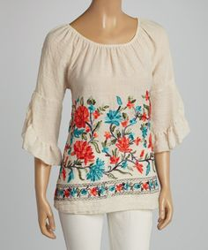 eeee832e63 Love this Cream  amp  Red Floral Embroidered Scoop Neck Top on  zulily!