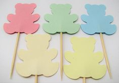 10 teddy bears cake toppers pastel colours Party picks