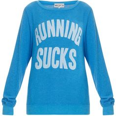 WILDFOX Running Sucks Sweater ($82) ❤ liked on Polyvore featuring tops, sweaters, shirts, long sleeves, blue sweater, wildfox tops, shirt sweater, blue top and long-sleeve shirt
