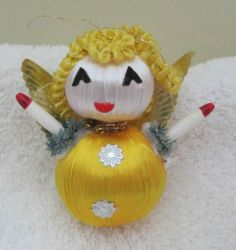 "Vintage Satin Wrapped Silky Christmas Angel Christmas Ornament Dresden 2.5"" T45"