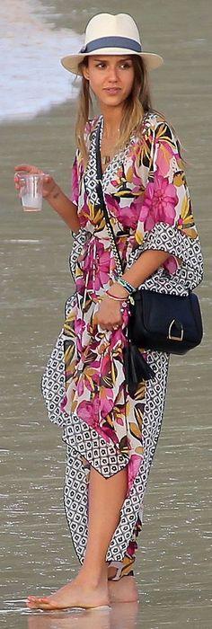 Jessica Alba in St. Barts wearing Tory Burch kaftan & fedora
