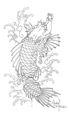 André Malcolm is a Japanese-style tattoo artist from San Francisco/Oakland, California. He works at the famous Skull & Sword along Grime, Henry Lewis, Yutaro, and Lango. Japanese Koi Fish Tattoo, Japanese Tattoo Designs, Koi Dragon Tattoo, Dragon Art, Asian Tattoos, Tribal Tattoos, Yantra Tattoo, Japanese Animals, Naruto Tattoo