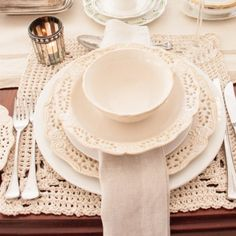 Vintage table setting - Hand crocheted cotton placemats @ R 690,00 per set of Six