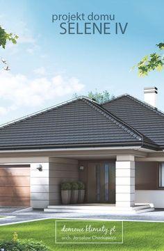 Selene IV to niewielki, ale wydajny dom parterowy z garażem jednostanowiskowym. W stosunku do poprzednich wersji, dom uzyskał większy przedsionek. Kompaktowa, jednoprzestrzenna strefa dzienna wzmaga poczucie przestronności wnętrza. Wyraźne rozdzielenie od strefy nocnej sprawdzi się za każdym razem, gdy do domu zawitają goście. Town House Plans, Dream House Plans, Small House Plans, Interior Exterior, Exterior Design, Future House, My House, House Design Pictures, Three Bedroom House Plan