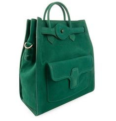 Emerald green leather tote bag
