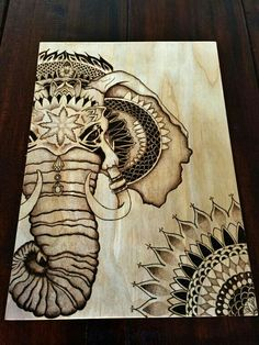 Pyrography Elephant stippled design with mandala by TimberleePyrography Wood Burning Crafts, Wood Burning Patterns, Wood Burning Art, Wood Crafts, Pyrography Patterns, Pyrography Tips, Elephant Art, Mandala Art, Wood Carving