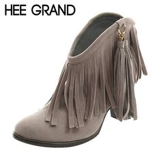 HEE GRAND Women Ankle Boots 2017 Autumn Fringe High Heels Boots Ladies Fashion Gladiator https://seethis.co/lolzYk/
