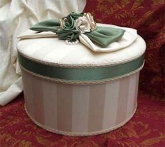 pretty green trimmed hat box