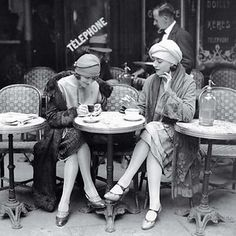 Women Drinking Coffee In A Terrace Of A Cafe, Paris, 1925