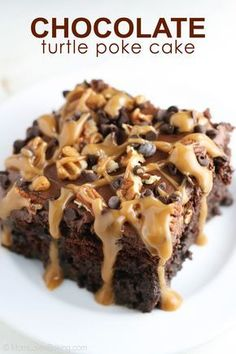 Chocolate Turtle Poke Cake starts with an easy chocolate cake mix prepared according to package instructions. Then you poke holes in the top with a wooden spoon handle. Pour caramel flavored sweetened condensed milk over the cake and spread all around. Refrigerate for an hour. Then frost with chocolate frosting and sprinkle with pecans and mini chocolate chips. This is a great dessert to serve your guests at a holiday party. It's sure to please all of those chocolate