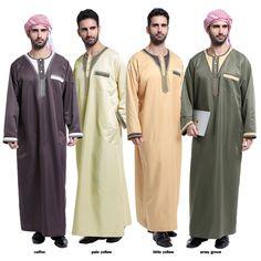 Men Muslim Clothing Long Sleeve Saudi Arab Thobe Islamic Jubba Kaftan Robe Dress - Ideas of Arabic Dress Muslim Men Clothing, Islamic Clothing, Abaya For Sale, Muslim Fashion, Mens Fashion, Cheap Fashion, Dubai, Men's Robes, Arabic Dress