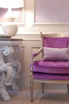 panelled wall sections in lilac.