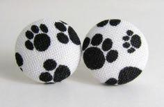 animal earrings   Cat dog paw animal earrings black white - CraftStylish