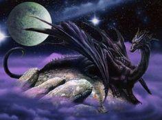 Black dragon and full moon