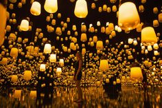 """""""Forest of Resonating Lamps"""" is an interactive digital installation by Japanese art collective teamLab. Garden Of Lights, Path Lights, Interactive Installation, Light Installation, Interactive Exhibition, Venetian Glass, Murano Glass, Glass Lamps, Creative Kitchen"""