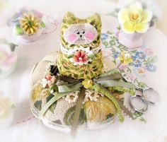 Cat Pincushion 4.5 inchesOlive Green and Gold by CharlotteStyle
