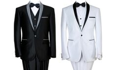 three-piece tuxedo suit with a bibbed dress shirt and black oxfords for the gold-standard black tie look at formal events