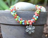 Bracelet: Crocheted S-Lon Cord with Various Pink, Green, & Blue Beads