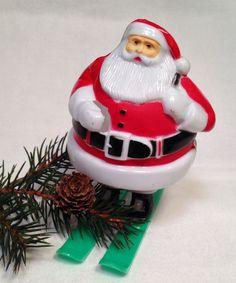 Vintage Rosbro Christmas Hard Plastic Santa on Skis Unusual Color Combination