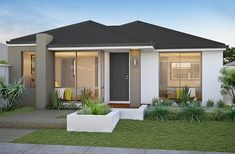 Welcome to our New Home Design Search. Browse through our diverse range of displays and find your perfect home design with Smart Homes for Living. Modern House Facades, Modern Bungalow House, Bungalow House Plans, Village House Design, House Front Design, Model House Plan, Dream House Plans, Minimal House Design, Luxury Modern Homes