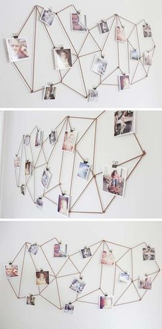 Kids Room: DIY Dorm Room Decor Ideas - Geometric Photo Display - Cheap DIY Dorm Decor Projects for College Rooms - Cool Crafts, Wall Art, Easy Organization for Girls - Fun DYI Tutorials for Teens & College Students Cheap Diy Dorm Decor, Easy Home Decor, Diy Room Decor For College, Room Decor Diy For Teens, Diy Dorm Room, Easy Diy Room Decor, Diy Girl Room Decor, Decor Room, Modern Room Decor