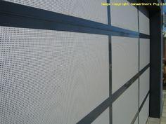 18% Perforated mesh insert garage door close up