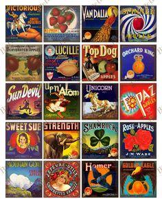 Digital Scrapbook Vintage Food Labels 2x2 by ButtonsandBells