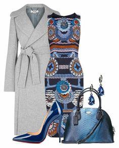 business-kleidung-frauen-buntes-kleid-in-verschiedenen-motiven-blaue-tasche-grauer-mantel-ideen