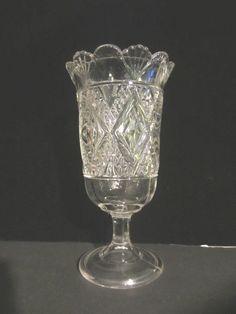 """Antique Vintage Pressed Glass Celery Spooner Pedestal Base 8 3/4""""H. MINT!"""